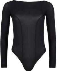 Kiki de Montparnasse Backless Long Sleeve T-Strap Bodysuit black - Lyst