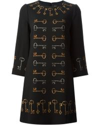 Dolce & Gabbana Medieval Keys Print Dress - Lyst