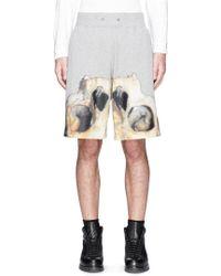 Givenchy Inverted Monkey Skull Print Sweat Shorts - Grey