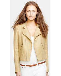 Lauren by Ralph Lauren Linen Moto Jacket - Lyst