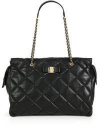 Ferragamo Ginette Vara Quilted Leather Shoulder Bag - Lyst