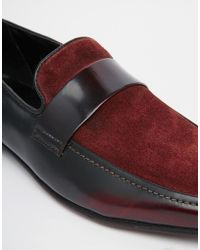 ASOS - Loafers In Burgundy Leather And Suede Mix - Lyst