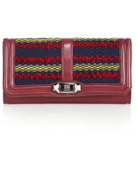 Rebecca Minkoff   Love Leather & Woven Textile Clutch   Lyst