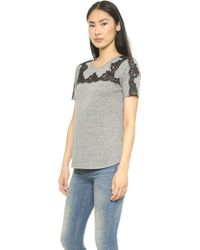 Rebecca Taylor Top with Lace Piecing  Panther - Lyst