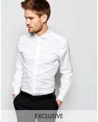Number Eight Savile Row - Exclusive Shirt With Penny Collar In Skinny Fit - Lyst