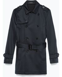 Zara Double Breasted Trench Coat - Lyst