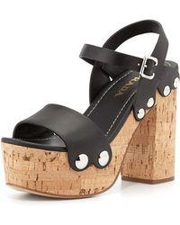 Prada Riveted Platform Clog Sandal - Lyst