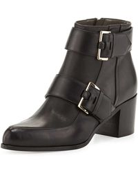Jason Wu Double-Buckle Leather Ankle Boot black - Lyst