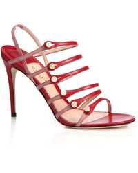 Gucci | Aneta Strappy Leather Button Sandals | Lyst