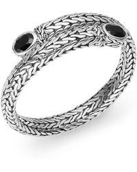 John Hardy Batu Classic Black Chalcedony  Sterling Silver Coil Bracelet - Lyst