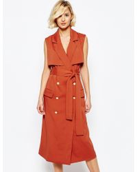 Lavish Alice - Sleeveless Trench Coat With Gold Buttons - Lyst