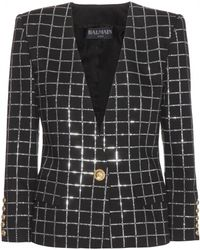 Balmain Embellished Cotton Blazer - Lyst
