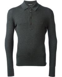 Tom Ford Ribbed Longsleeve Polo Shirt - Lyst