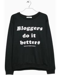 Mango Message Cotton-Blend Sweatshirt - Lyst