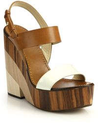Jimmy Choo Notion Wooden-Heeled Leather Sandals brown - Lyst