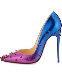 Christian Louboutin Degraspike Patent Red Sole Pump - Purple
