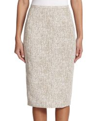 Michael Kors Crosshatch-Print Linen Pencil Skirt white - Lyst