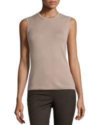 Carolina Herrera Sleeveless Cashmere-Silk Shell - Lyst