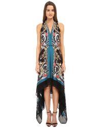 Versace Printed Halter Asymetrical Hem Gown multicolor - Lyst
