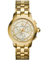 Tory Burch Tory Goldtone Stainless Steel Chronograph Bracelet Watch/Ivory - Lyst