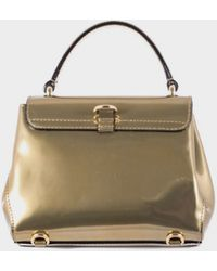 Moschino Gold Leather Mini Backpack Mirrored Effect gold - Lyst