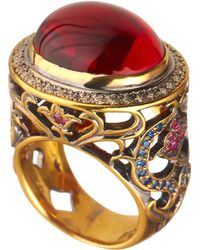 Queensbee - Oval Flower Ring Red - Lyst