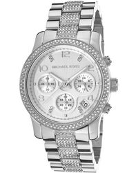 Michael Kors Women'S Chronograph Silver Dial Stainless Steel - Lyst
