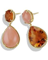 David Yurman Chatelaine Earring with Madeira Citrine and Peach Moonstone in Gold - Lyst