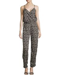 Neiman Marcus | Leopard-print Wrap-front Jumpsuit | Lyst