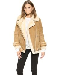 Acne Studios Velocite Shearling Suede Jacket  Ochre Yellow - Lyst