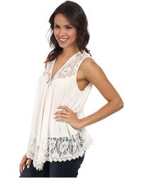 Karen Kane Lace Inset Crushed Tank Top - Lyst