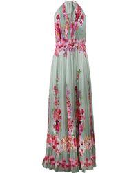 Alberta Ferretti Flower Print Chiffon Gown - Lyst