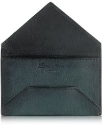 Santoni - Business Credit Card Holder In Suede - Lyst