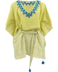 Banjanan Athena Embroidered Caftan green - Lyst