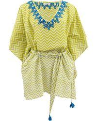 Banjanan Athena Embroidered Caftan green - Lyst