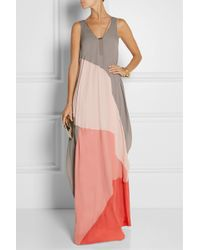 Halston Heritage Color-Block Chiffon Maxi Dress - Lyst