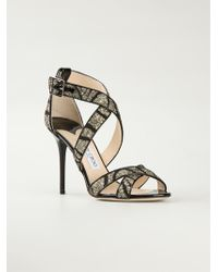 Jimmy Choo Black 'Lottie' Sandals - Lyst