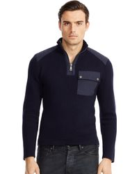Ralph Lauren Moto Cotton Half-Zip Sweater - Lyst