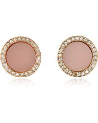Michael Kors | Heritage Rose Gold Stud Earrings W/crystals | Lyst