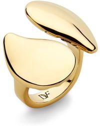 Diane von Furstenberg Double Teardrop Ring gold - Lyst