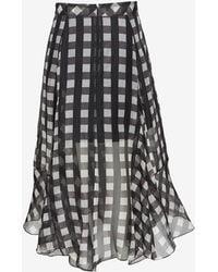 Marissa Webb Yasmin Checkered Organza Mid-length Skirt - Lyst