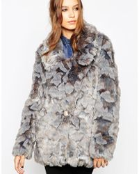 Urbancode Rex Faux Fur Coat - Gray