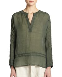 Vince Lace Popover Blouse green - Lyst