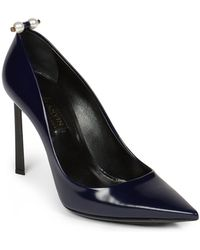 Lanvin Pearl-Studded Leather Pumps blue - Lyst