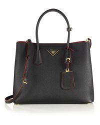 Prada Saffiano Cuir Medium Double Bag black - Lyst
