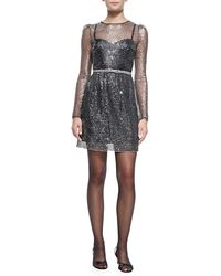Marc Jacobs Long-Sleeve Dress W/ Rhinestone Bow Belt - Lyst