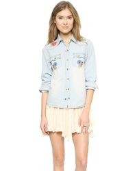 Spell - Route 66 Chambray Shirt - Blue - Lyst