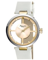 Kenneth Cole | Cutout Dial Leather Strap Watch | Lyst