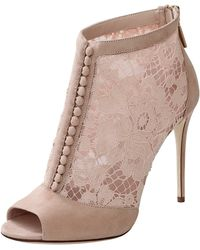 Dolce & Gabbana Lace Button Front Bootie pink - Lyst