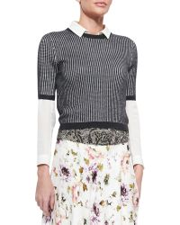 Haute Hippie Patterned Cropped Sweater - Lyst